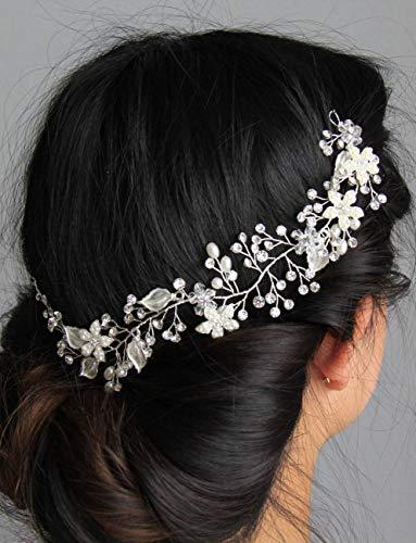 schmuck Silber Perlen Haarschmuck Kristall Perlen Blume Leaf und Vine Hochzeit Head Stück Strass Haar Stück Brautschmuck Haarschmuck Haarband Haar Zubehör ()