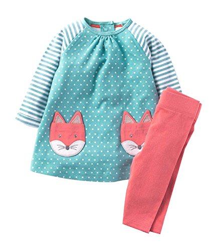 r Mädchen Schlafanzug Langarm aus Baumwolle Niedliche Tier Stickerei Muster von Fuchs Pyjama Sets Nachtwäsche für Kinder Mädchen (1- 7 Jahre alt) (Süßes 4-jähriges Mädchen)