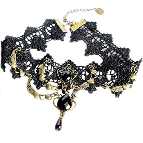 LCLrute Halskette Damen Schwarz Spitze Retro Vampir Halskette Edelstein Halsband Halsband Anhänger Halskette Mode Schmuck (Vampir Kostüme Kit)