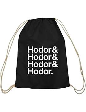 Shirtstreet24, Hodor& Hodor& Hodor& Hodor. Baumwoll natur Turnbeutel Rucksack Sport Beutel
