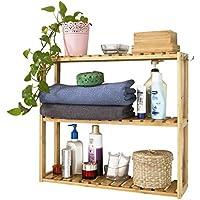 SoBuy® FRG28-B-N Wandregal aus Bambus, Hängeregal, Badezimmerschrank, Wandschrank, Hängeschrank