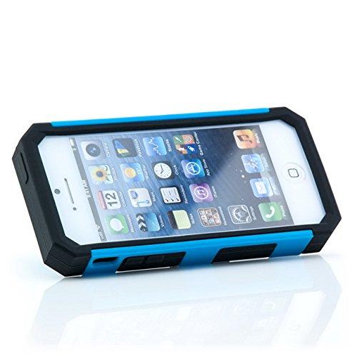Saxonia. Coque en Silicone pour Apple iPhone 5 5S Haute qualité | Chic, Pratique et Robuste Hybride Étui Smartphone pour faire du Sport, du Voyage et les Loisirs | Couleur: jaune bleu