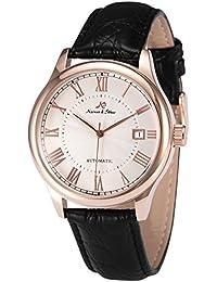 KS KS243 - Reloj para hombres, correa de cuero color negro