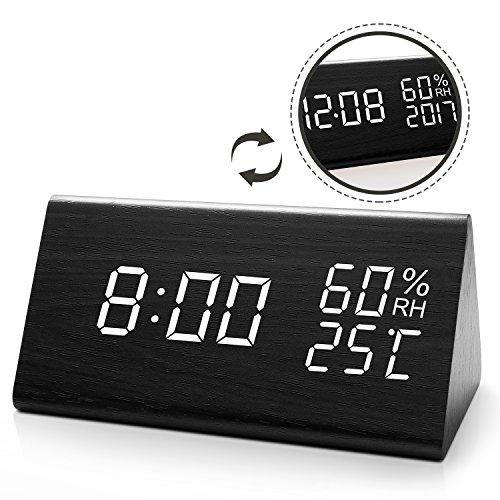 JOYNOTE LED Digitaler Wecker mit Datum/Woche/Temperatur/Feuchtigkeit, 12/24H und 3 Einstellbare Helligkeit, Modern Holz Tischuhr mit 3 Weckzeiten (Schwarz) (Luftfeuchtigkeit Digital)