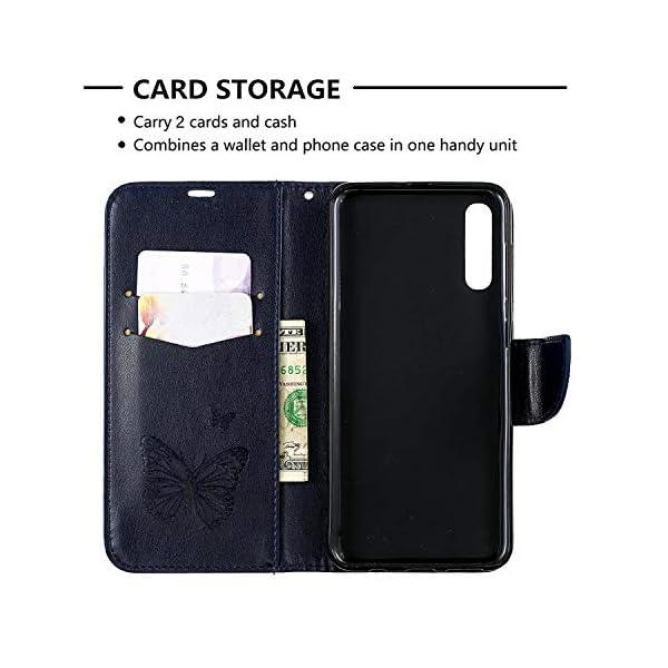 Libro Billetera Funda Samsung Galaxy A50 Funda Cuero Caja Cartera Funda Cuero en TPU Silicone Funda Folio Flip Carcasa… 4