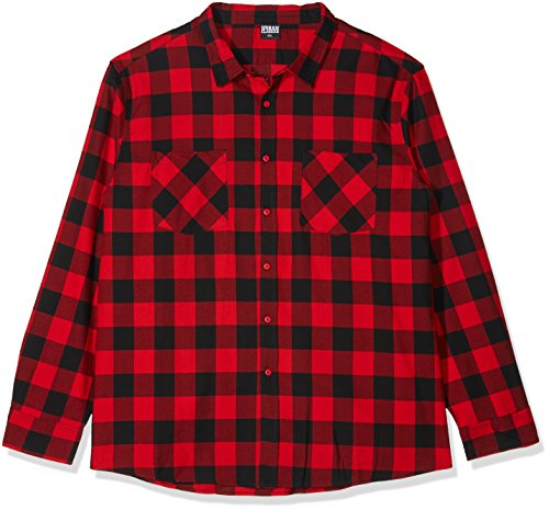Urban Classics TB297 Checked Flanell Regular Fit Herren Freizeit Hemd,Mehrfarbig (Blk/Red), XXX-Large