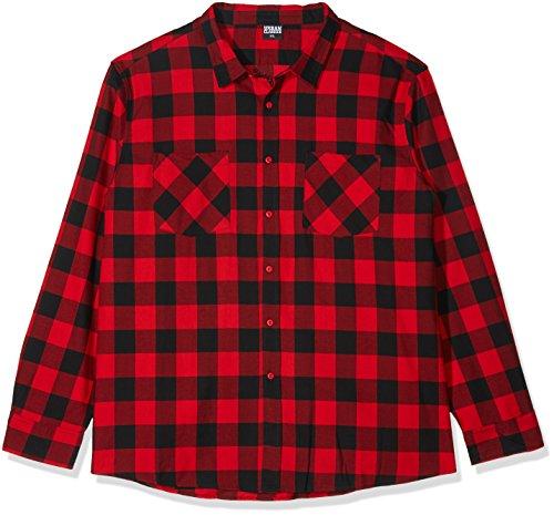 flanellhemd rot schwarz kariert Urban Classics Herren Freizeithemd Checked Flanell Shirt, Blk/Red, 4XL