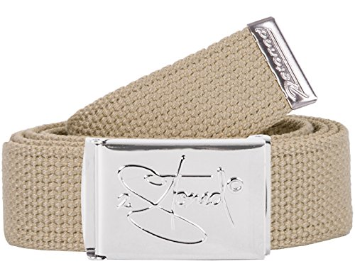 2Stoned Hosengürtel Schmal Beige, Chromschnalle Classic, 3 cm breit, Textil-Gürtel für Damen und Herren -