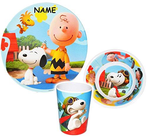 alles-meine.de GmbH 3 TLG. Geschirrset -  Peanuts / Snoopy  - incl. Name - Melamin Geschirr - Trinkbecher + Teller + Müslischale / Suppenschale - Kindergeschirr Frühstücksset -.. (Woodstock Hund Spielzeug)