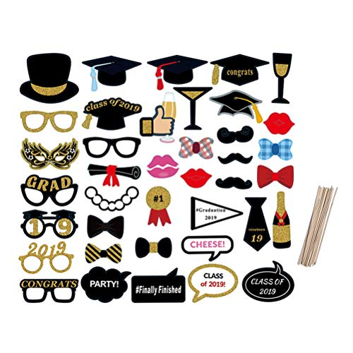 Amosfun 2019 Graduation Photo Booth Requisiten Kit DIY Selfie Requisiten Graduation Party Favor Dekorationen Pose Zeichen 39 STÜCKE