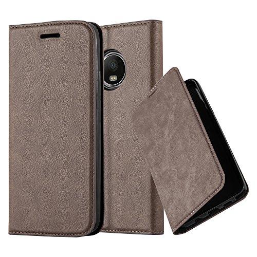Cadorabo Hülle für Motorola Moto G5 Plus - Hülle in Kaffee BRAUN – Handyhülle mit Magnetverschluss, Standfunktion und Kartenfach - Case Cover Schutzhülle Etui Tasche Book Klapp Style