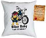Comic-Kinder/Geburtstagskissen inkl. Fun-Urkunde: Biker Baby seit 13 Jahren Geschenk zum 13. Geburtstag