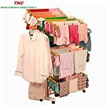 TNC Stainless Steel Laundry Rack and Cloth Dryer Stand with 6 Hangers, Bag