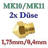 2x MK10 MK11 Präzisions 3D Drucker Düse Messing 0,4mm