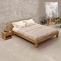 Krokwood Julia Massivholzbett in Eiche FSC 100% Massiv, Natur geölt Eichebett, billig Holzbett mit Kopfteil, massivholz Bett vom Hersteller (140 x 200 cm)