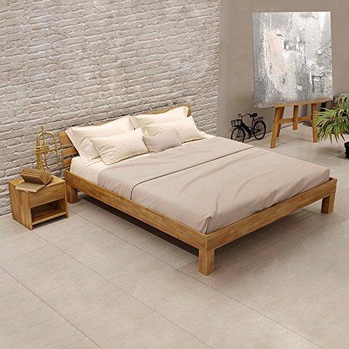 Krokwood Julia Massivholzbett in Eiche FSC 100% Massiv, Natur geölt Eichebett, billig Holzbett mit Kopfteil, massivholz Bett vom Hersteller