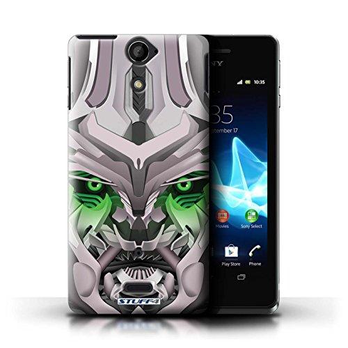 Kobalt® Imprimé Etui / Coque pour Sony Xperia V/LT25i / Opta-Bot Bleu conception / Série Robots Mega-Bot Vert