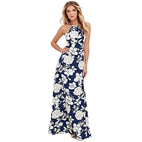 Romacci Sexy Women Maxi Dress Halter Neck Floral Print Sleeveless Summer Beach Long Slip Dress S-5XL,Blue/Black (XL, Black) (3XL, Blue)