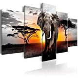 decomonkey Bilder Afrika Tiere 200x100 cm 5 TLG. Leinwandbilder Bild auf Leinwand Vlies Wandbild Kunstdruck Wanddeko Wand Wohnzimmer Wanddekoration Deko Elefant Landschaft Sonnenuntergang