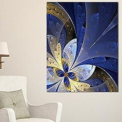 Arte fractalAzul y amarillo. Fractal patrón moderno de lienzo floral. Azul.