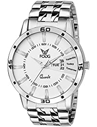 Fogg Analog White Day and Date Dial Men's Watch 2038-WH