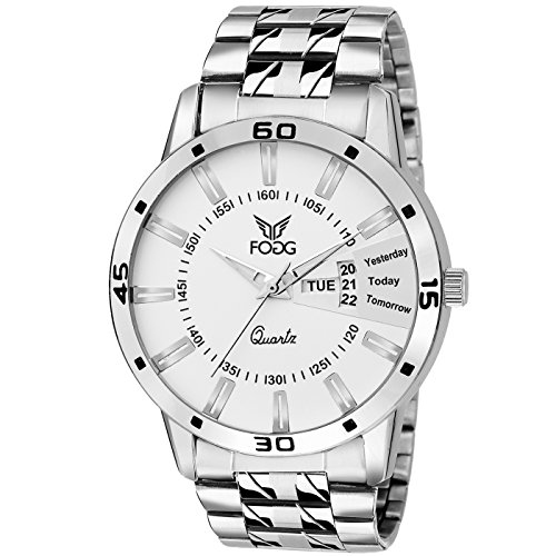 Fogg Stainless Steel Day and Date White Dial Analog Mens Watch (2038-WH)