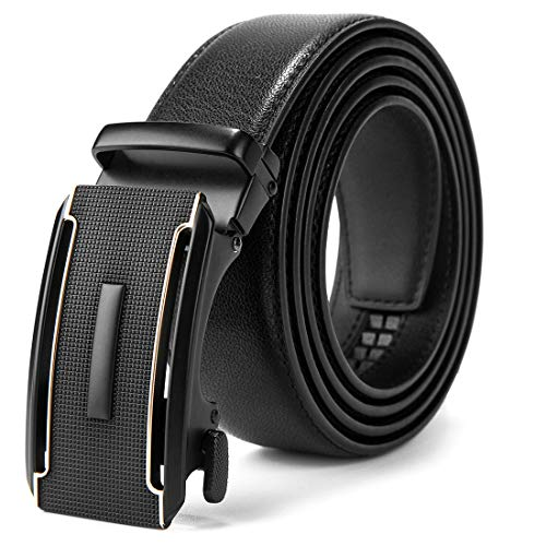 MUCO cinturón hombre cinturon automatico de trinquete, ancho de banda de cuero 3.5 cm,El cuero no se romperá,caja de regalo