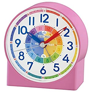 Seiko QHE153P Childrens Time Teaching Alarm Clock - Pink {4517228832345}