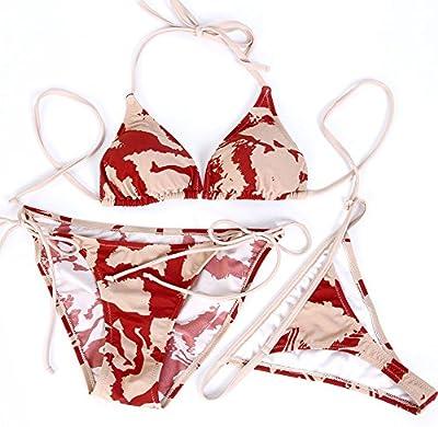 Europa y tres piezas traje de baño Bikini tanga correas color