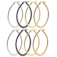 Epinki Jewellery 4 Pair Hypoallergenic Stainless Steel Women Hoop Earrings Pack 50MM