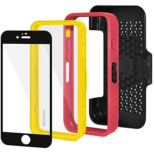 Amzer Crusta edge2edge Case/Schutzhülle, mit Tischplatte aus gehärtetem Glas und Holster (für iPhone 6Plus schwarz/grau) Black/Grey/Red/Yellow