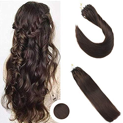 Ugeat 50g Glatt Micro Loop Haarverlangerung Echthaar Extensions 55cm Brasilianische Echthaar Tressen Dunkelbraun 22 Zoll 1g/s - Support-erweiterung