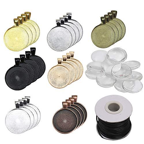 Anhänger Set (35Pcs) mit Glaskuppel (35Pcs) - Cabochon Rohlinge mit Nylonschnur 7 Farben Runde Transparenten Glaskuppel Fliesen - Ideal für Schmuckherstellung, Handwerk, Halskette, Schlüsselanhänger