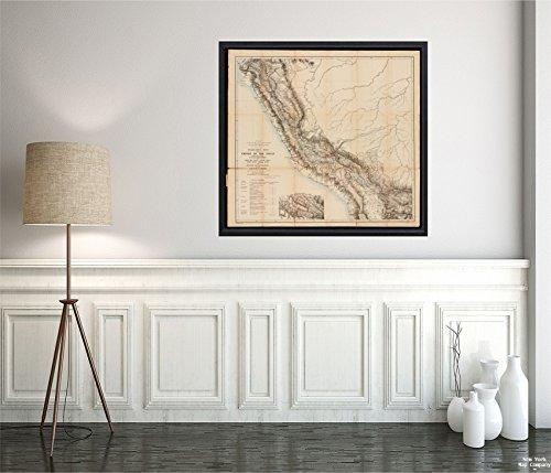 New York Karte Company (TM) 1880Karte Peru ttahuantin-Suyu Oder Reich der yncas (Außer Quito und Chile) conquerers Map|Historic Antik Vintage Reprint|Ready Zum Rahmen