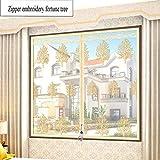YOLE Anti-Moskito-Vorhang-Klettverschluss Magnet Fliegengitter Fenster Vorhang Insektenschutz Reißverschluss des Mittelblocks offen Der Vorhang ist Ideal für die Kinderzimmer,D,150 * 150cm/59 * 59in
