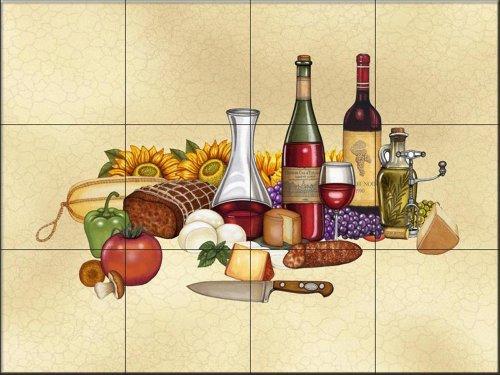 Tuscan Vignette II by Dan Morris | Tile Mural for Kitchen Splashback | Bathroom Wall Tile Mural | UK made