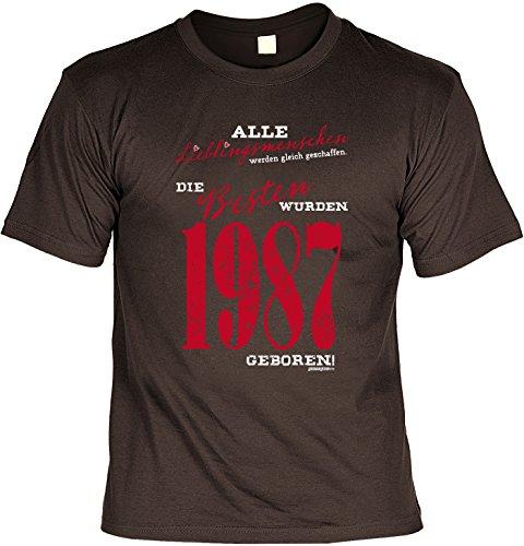 T-Shirt zum Geburtstag: Alle Lieblingsmenschen werden gleich geschaffen. Die Besten wurden 1987.. - Tolle Geschenkidee - Baujahr 1987 - Farbe: braun Braun