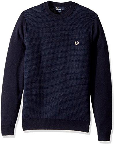 Fred Perry Herren strukturierte Wolle Mischung jumper L Marine (Mischung Marine Wolle)