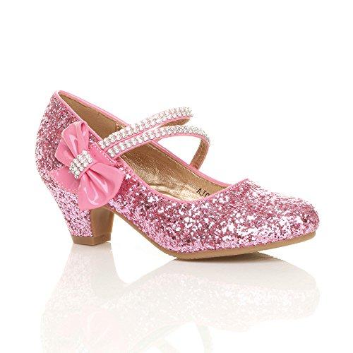 Mädchen Mary Jane Riemen Schleife Brautjungfer Hochzeit Abendschuhe Größe (Für Heels Kinder High Schuhe)