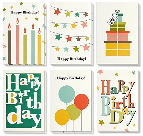 Best Papier Grüße Colorful Happy Birthday Note Karten Grußkarten–6fröhlichen Designs auch Presents, Kerzen, Luftballons, Wimpelkette Star, Umschläge enthalten–48Stück