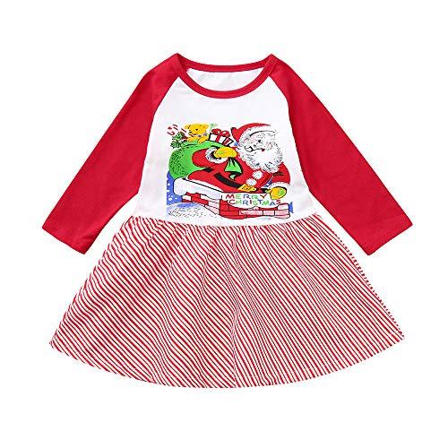 WEXCV Säuglings Baby Mädchen Weihnachten Winter Warm Niedlich Lange Ärmel Weihnachtsmann Muster Twill Nähen Kleid Fashion Babies Weihnachten-Kostüm 0.5-4 Jahre