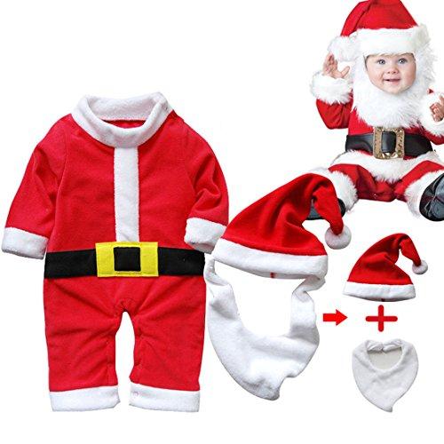 ARAUS Traje Navidad Santa Unisexo Bebé Disfraz Navidad Traje Pantalones 3/4 + Sombrero + Barba (se puede utilizar como un babero para bebe comer)