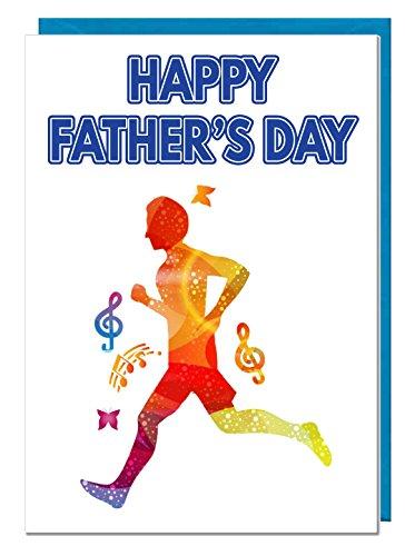 """Themen-Geschenkkarte """"Happy Father's Day"""" für den Vatertag, mit buntem Läufer."""