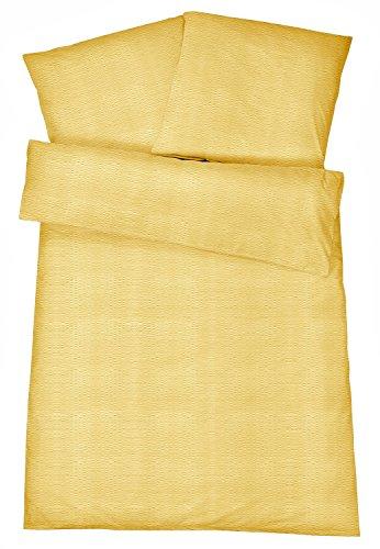 Carpe Sonno Bügelfreie Seersucker Bettwäsche 135 x 200 cm - Leichte Baumwoll Bettbezüge mit Uni Muster für Den Sommer - Modern Einfarbige Bettwaren-Garnitur - Gelb
