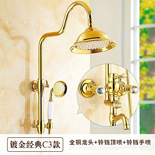 Qwer Duscharmaturen das Kupfer Gehäuse Continental gold Armaturen antiken Dusche Bad mit heißer und kalter Dusche, wenn Gold Owan bilateralen Backstein im Vergleich