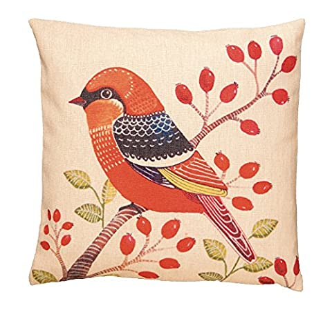 43 CM CUSHION COVER EXOTIC BIRDS WARBLER VIBRANT ORANGE, RED AND BLACK ON NATURAL (33130)