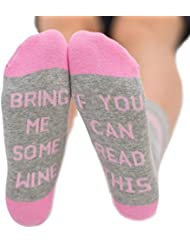 IF YOU CAN READ THIS Wine Socks, Novelty Funny Christmas Gift Talking Socks Cotton Crew Socks for Women Men, Perfect for Wine Lovers, Birthdays, White Elephant, Mother or Father Gift