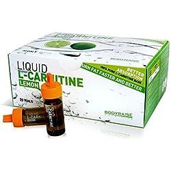 Bodyraise 100% Pure L-Carnitine Vials 2000 mg - Suplemento de aminoácidos de alta calidad con sabor a limón, 20 viales de 10 ml