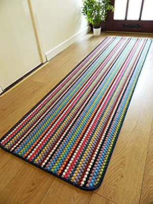 New Multi Coloured Modern Washable Non Slip Kitchen Utility Hall Long Runner Door Mat Rug (5 Sizes Available) - cheap UK light shop.