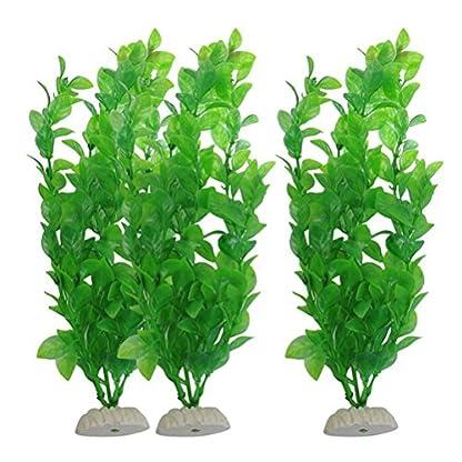 UEETEK Fish Tank Green Plastic Artificial Plants Aquarium Water Plants Decorations - PACK OF 3 1